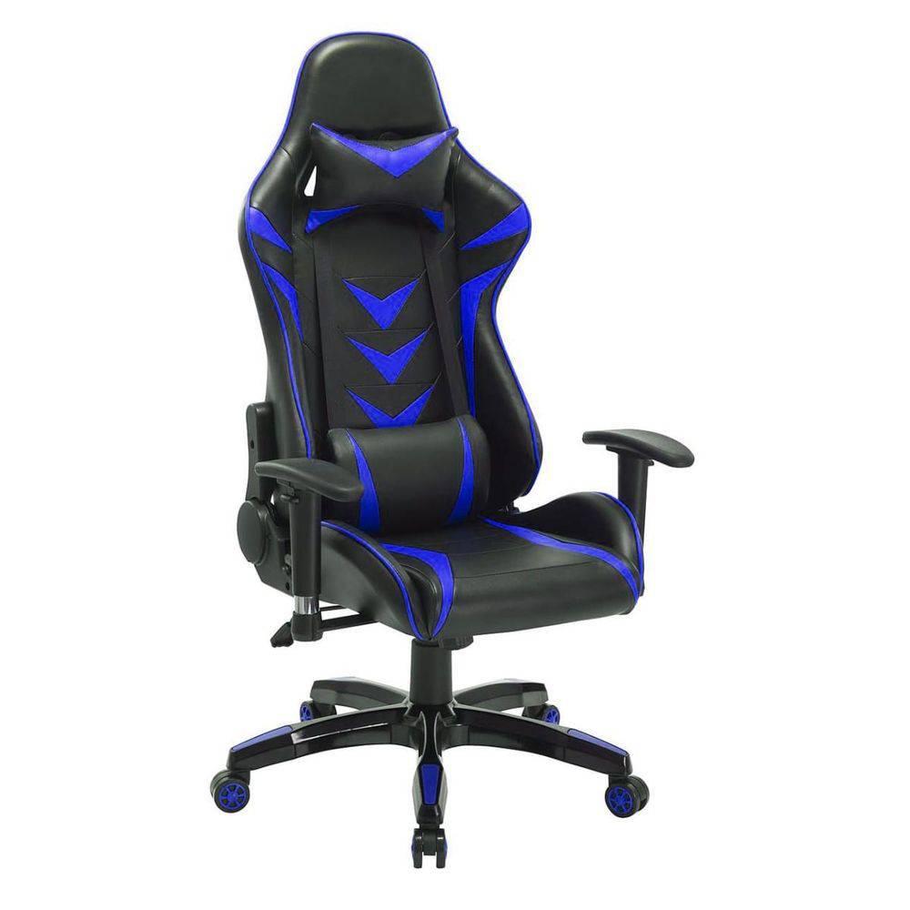 Cadeira Pelegrin Pel-3003 Gamer Couro Pu Preta E Azul