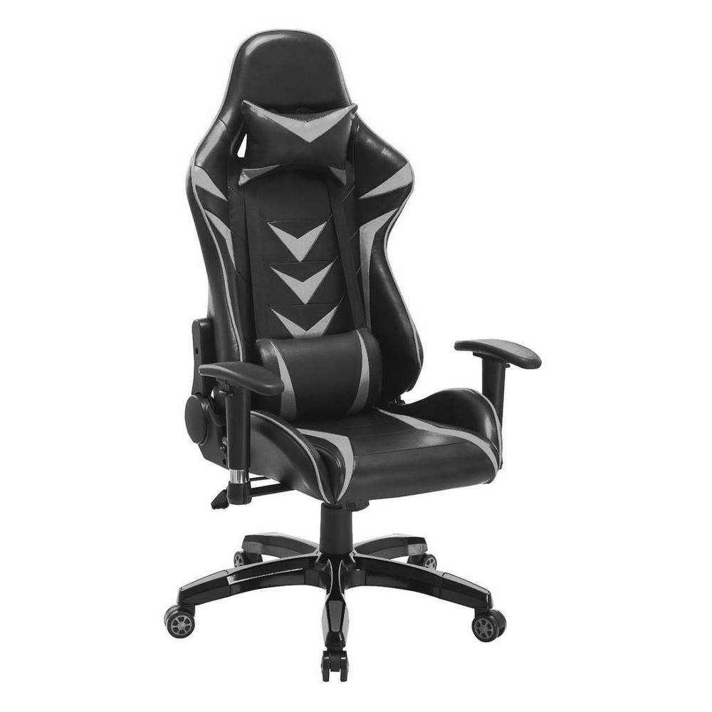 Cadeira Pelegrin Pel-3003 Gamer Couro Pu Preta E Cinza