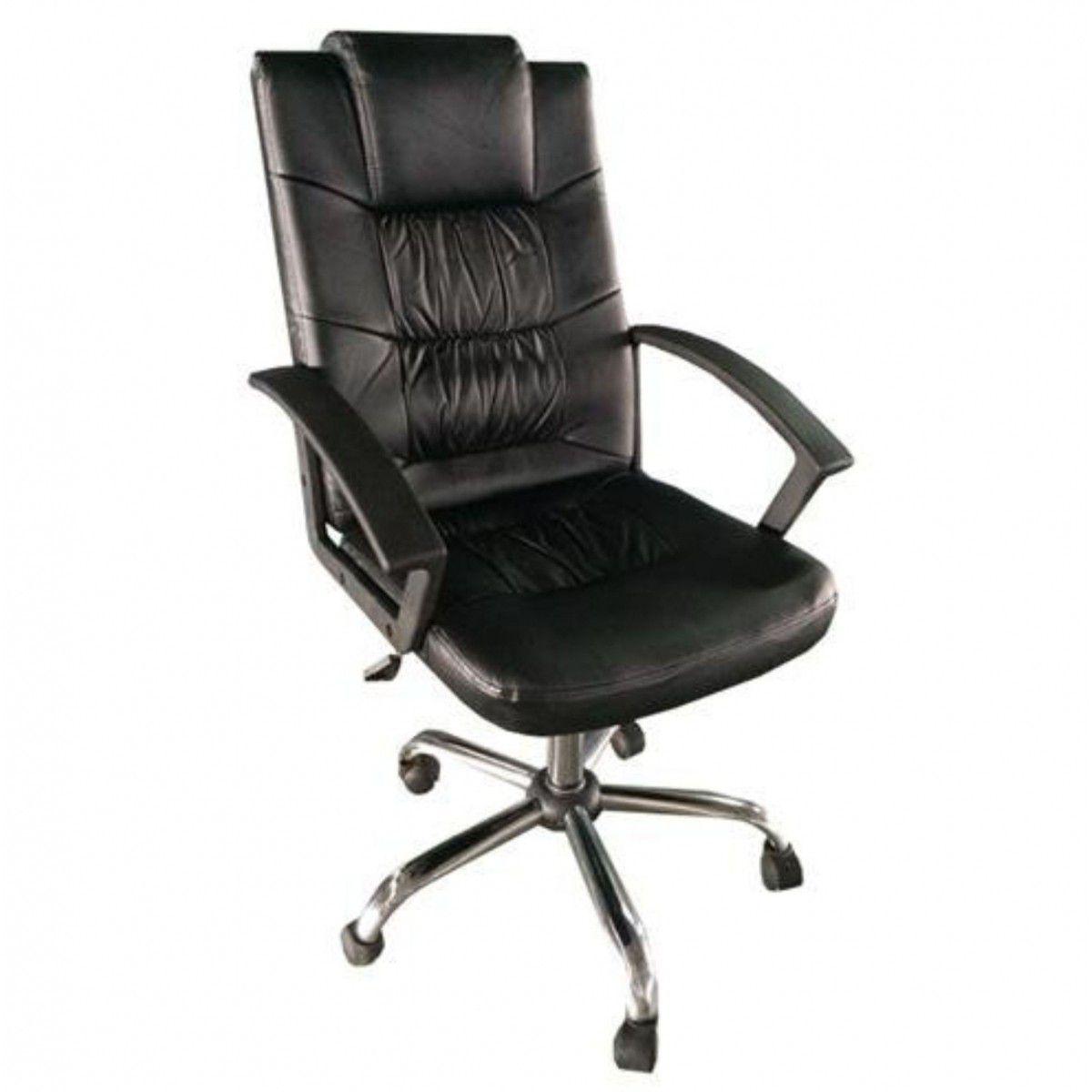 Cadeira Presidente Giratória Couro Pu Preta Pelegrin - PEL-8208H