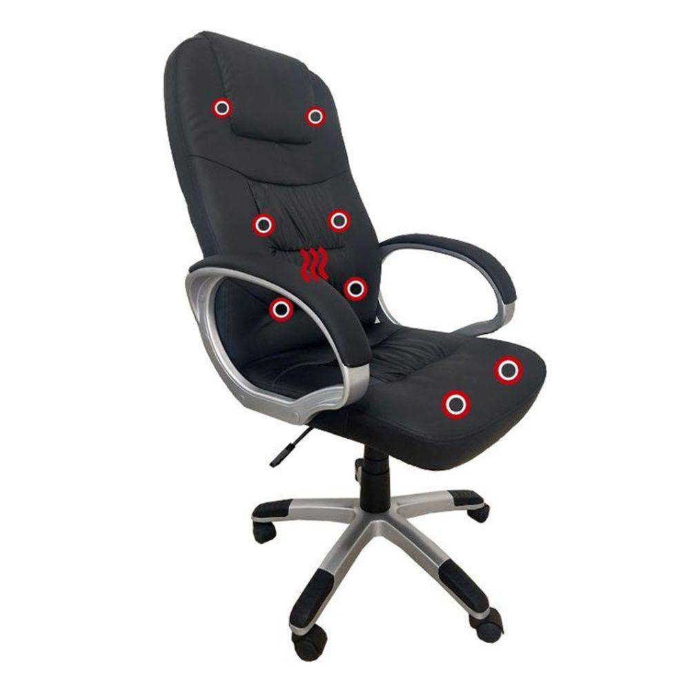 Cadeira Presidente Pelegrin PEL-7128 Dispositivo de Massagem Couro PU Preta