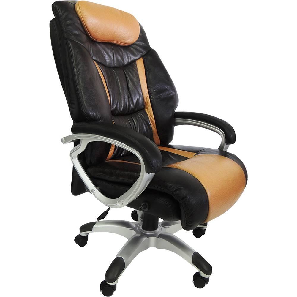 Cadeira Presidente Pelegrin Pel-9012 Couro Pu Marrom E Caramelo