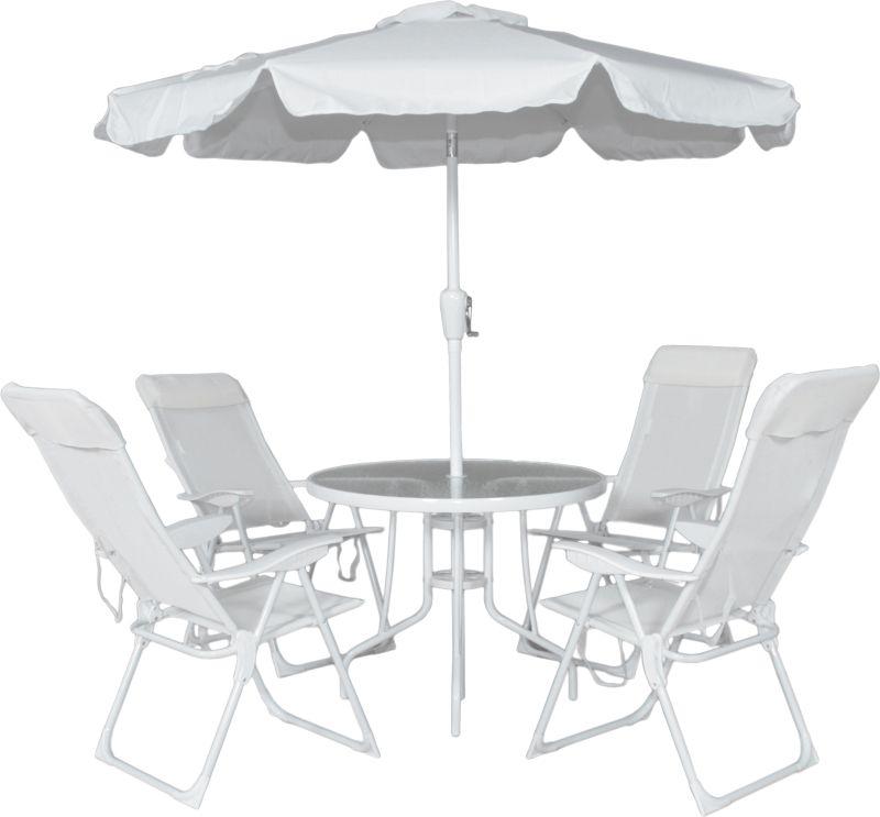 Conjunto Jardim Monaco 4 Cadeira Alta + Mesa + Ombrellone Branco