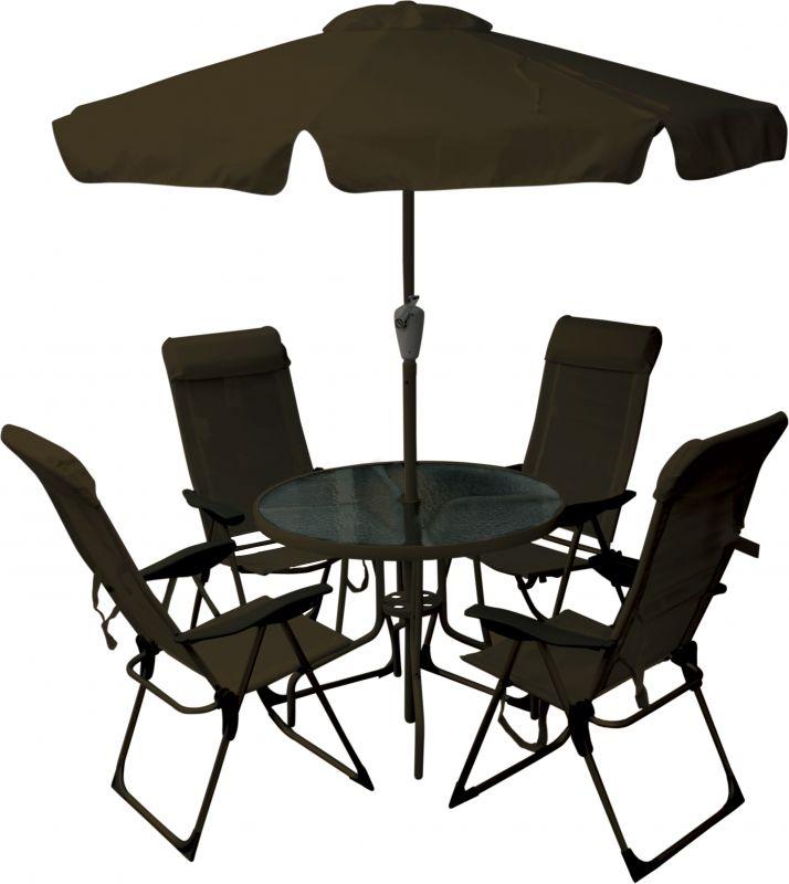 Conjunto Jardim Monaco 4 Cadeira Alta + Mesa + Ombrellone Marrom
