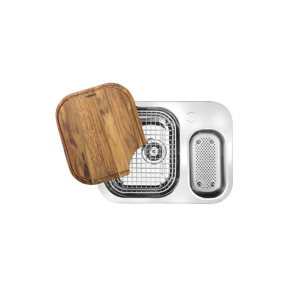 Cuba Dupla De Embutir Para Cozinha Retangular Em Inox Com Acessórios Quinline 40x59,5cm Alto Brilho