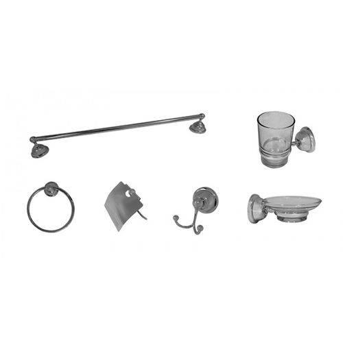 Kit com 6 Acessórios Para Banheiro Metal Loomix P-017