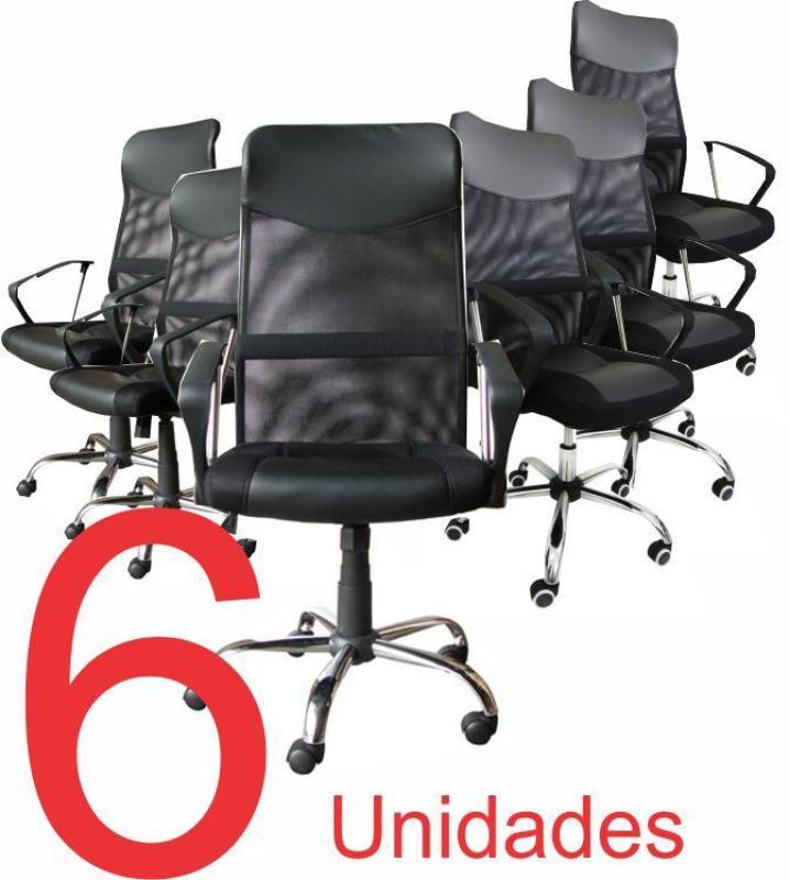 Kit com 6 Cadeiras Presidente em Tela Mesh PEL-8009 Preta