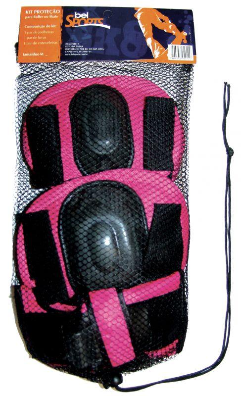 Kit Proteção Infantil Para Rollers E Skates - Rosa - G