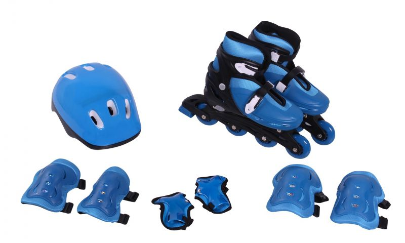 Kit Roller In-Line Completo Patins Radical Azul M (33-36)
