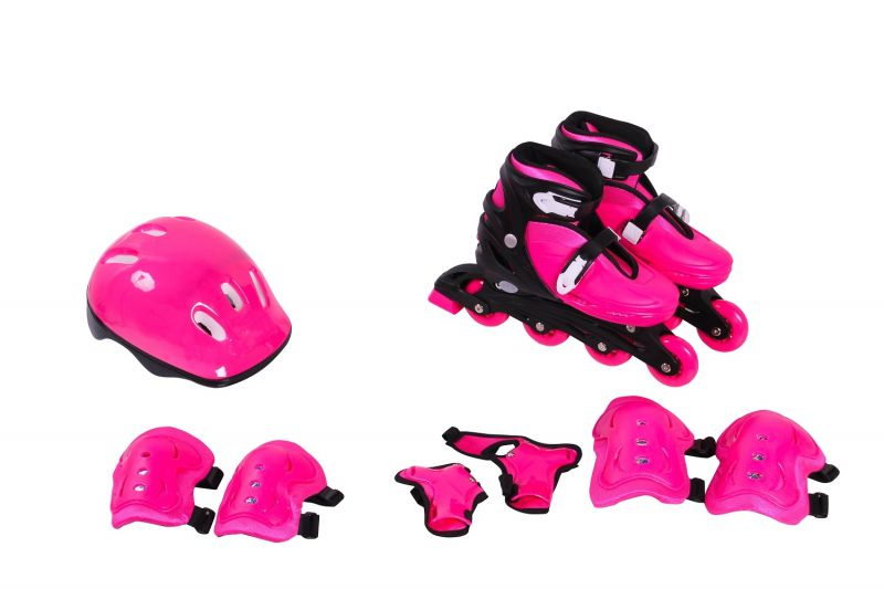 Kit Roller In-Line Completo Patins Radical Rosa M (33-36)