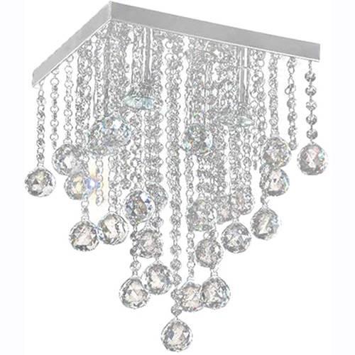 Lustre Classic Alumínio Escovado Com Adornos Em Cristal Alto Brilho - Pelegrin