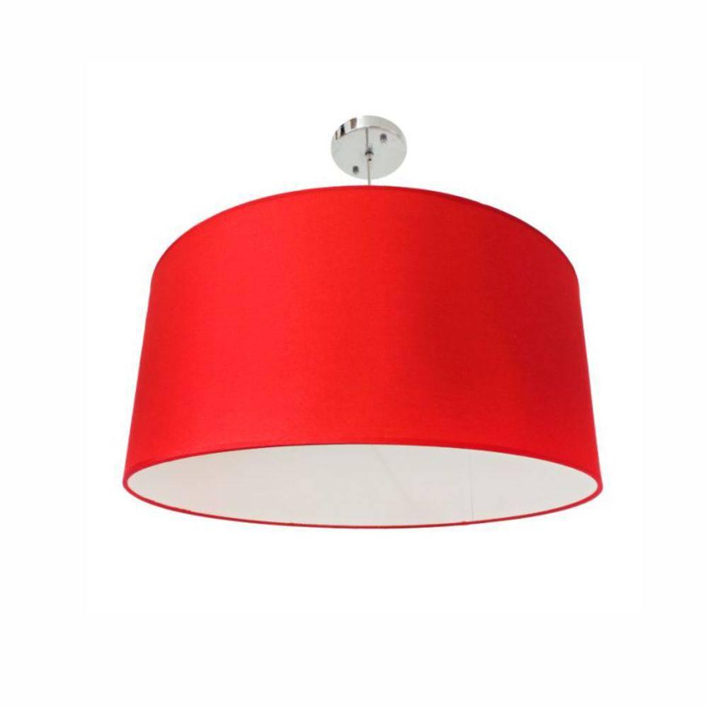 Lustre Dome Pelegrin PEL-021 Metal Tecido Vermelho