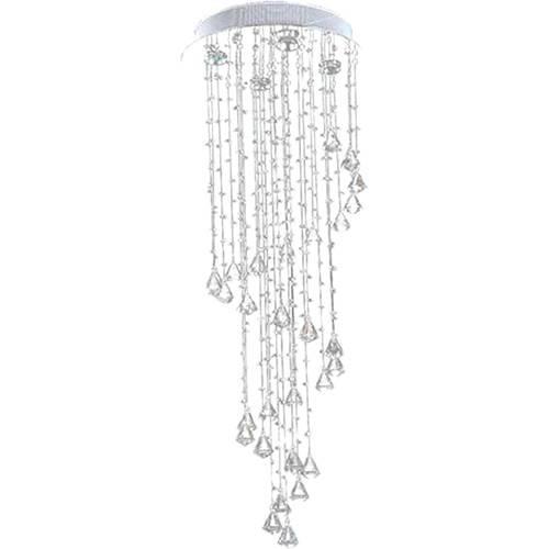 Lustre Nilo Alumínio Escovado Com Adornos Cristal Acrílico Alto Brilho - Pelegrin