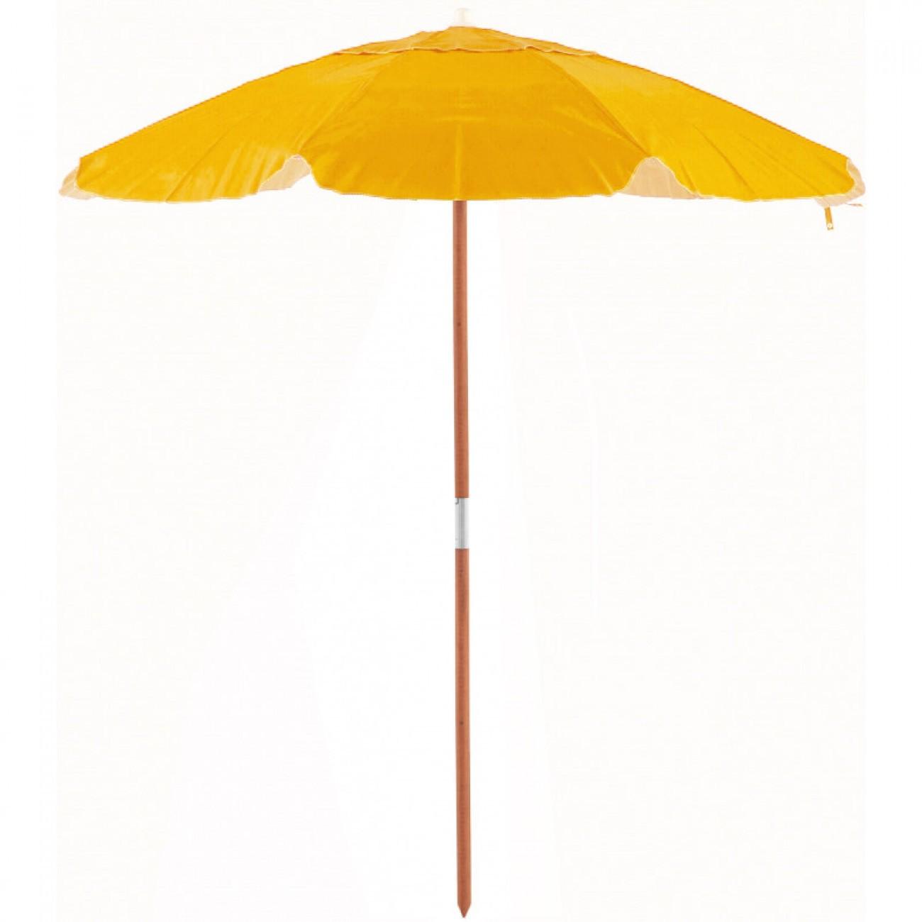 Ombrellone Guarda Sol De Madeira Cobertura Em Pvc Bagum  2,00 M Amarelo