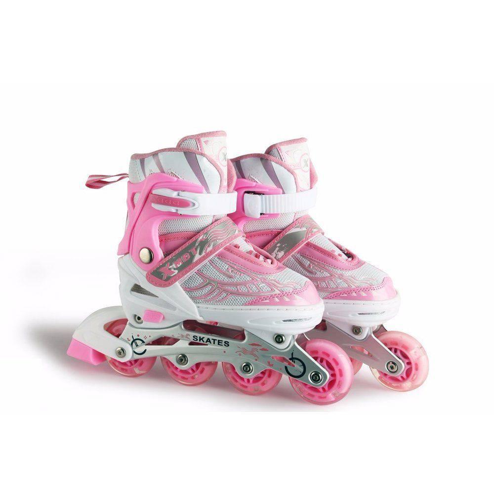Roller Patins Infantil C/ Led nas Rodas Ajustável Rosa M (34 ao 36)