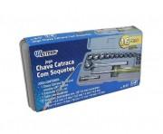 """JOGO CHAVE CATRACA COM SOQUETES 1/4"""" 16PC WESTERN"""