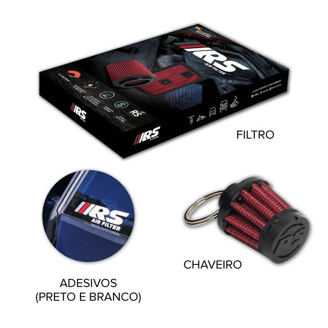 Filtro De Ar Esportivo Cônico Mono Fluxo Altura 100MM Linha FCRS
