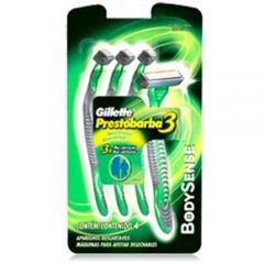 Aparelho de Barbear Gillette Prestobarba 3 Bobysense - 4 Unidades