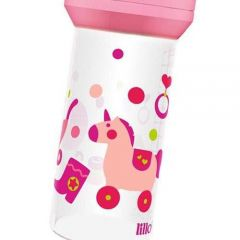 Mamadeira Lillo Super Divertida Rosa  Bico de Látex 260ml