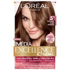 Tintura Imédia Excellence Creme L'Oréal - Nº 5.3 Castanho Claro Dourado