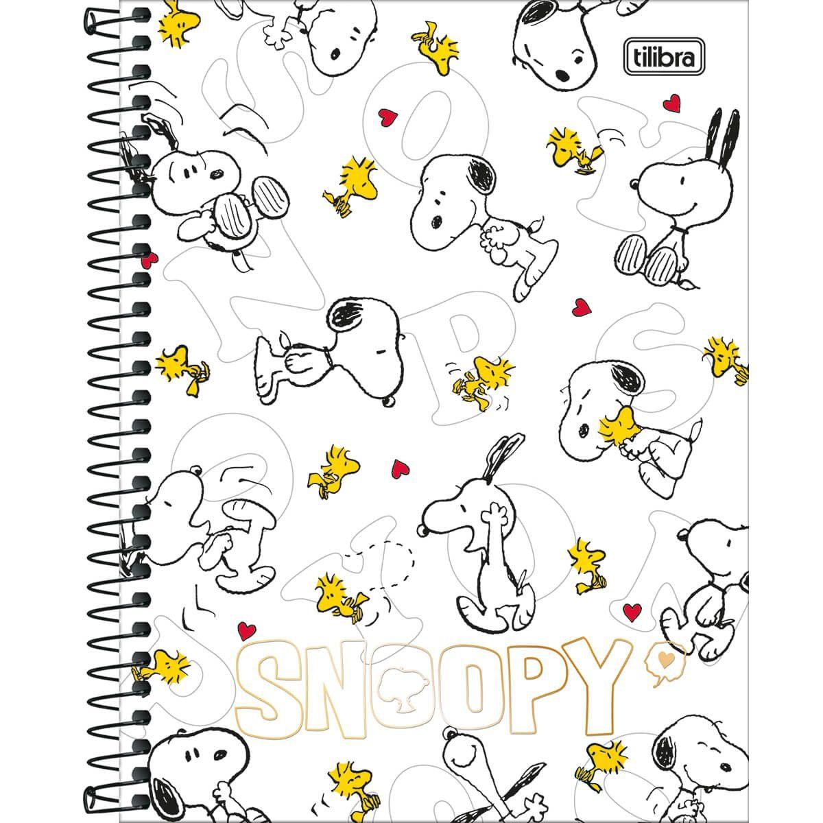 Caderno Colegial 1x1 80f CD 236853 Snoopy Vintage Tilibra