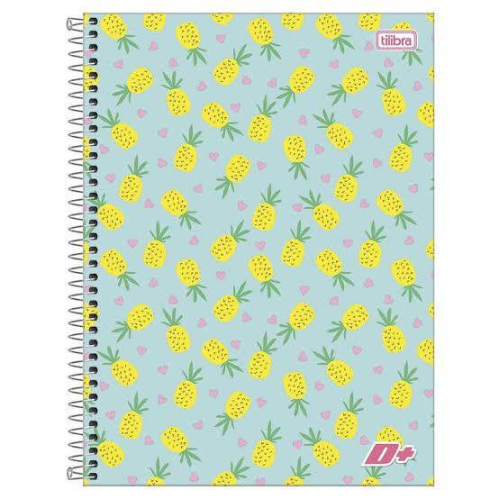 Caderno de Espiral - Capa Dura - Colegial - Feminino - Abacaxi - 96 Folhas - Tilibra