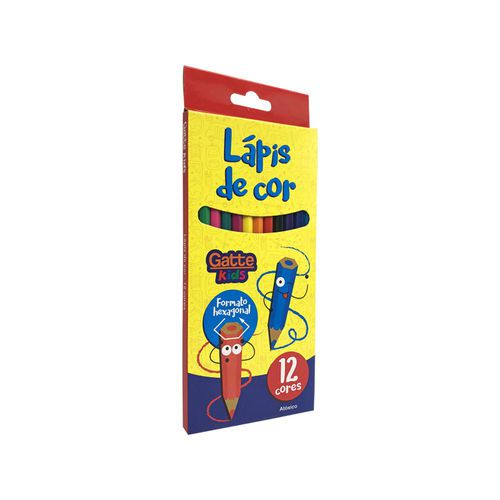 Lapis De Cor 12 Cores Hexagonal 10001 Gatte