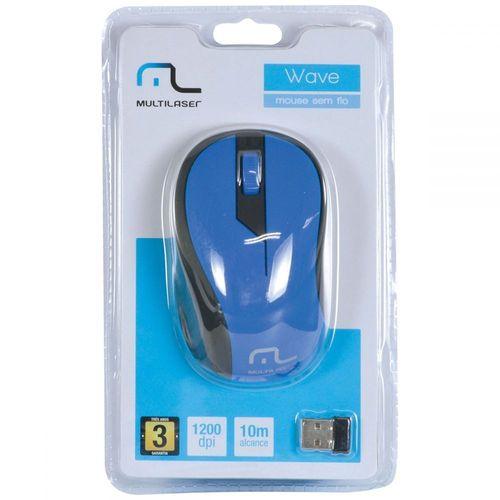 Mouse Sem Fio 2.4ghz Preto Azul USB MO215 - Multilaser