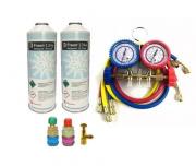Kit para refrigeração Manifold Ar Condicionado Automotivo R134 + Engate + 2 Latas de Gás R134a