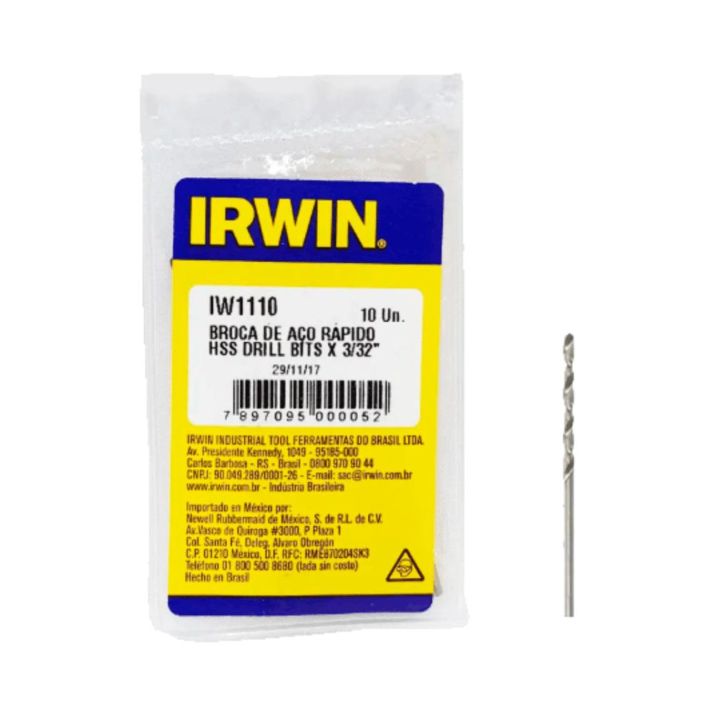 """Broca Aço Rápido 3/32"""" 2.38mm IW1110 - Irwin"""