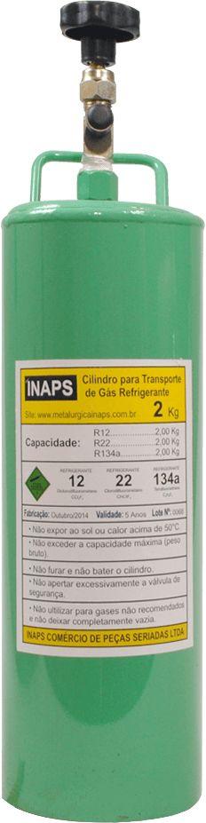 Cilindro Para Transporte De Gás Refrigerante 2Kg R22 R134a