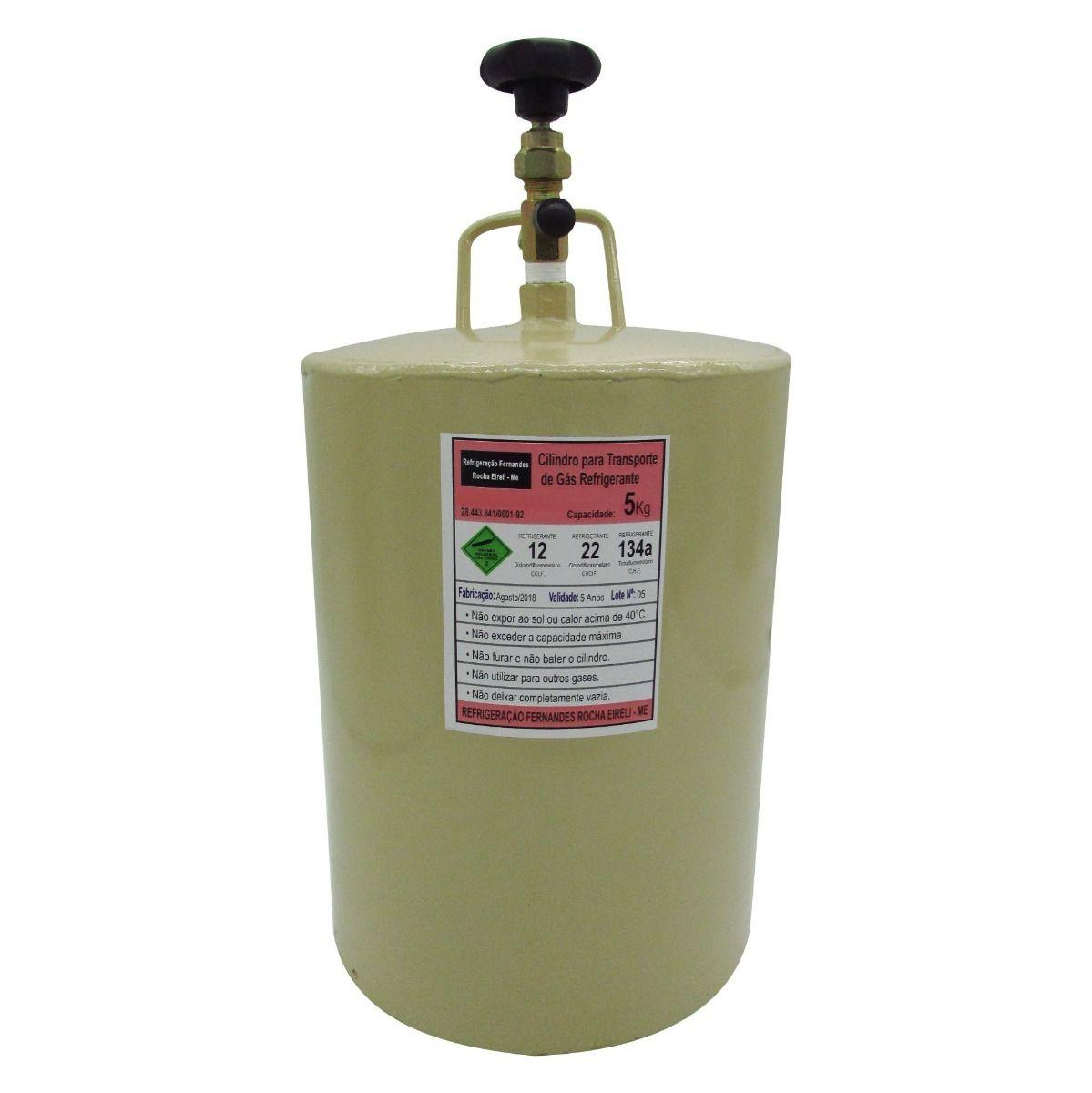 Cilindro Para Transporte de Gás Refrigerante R22 e R134a - 5KG