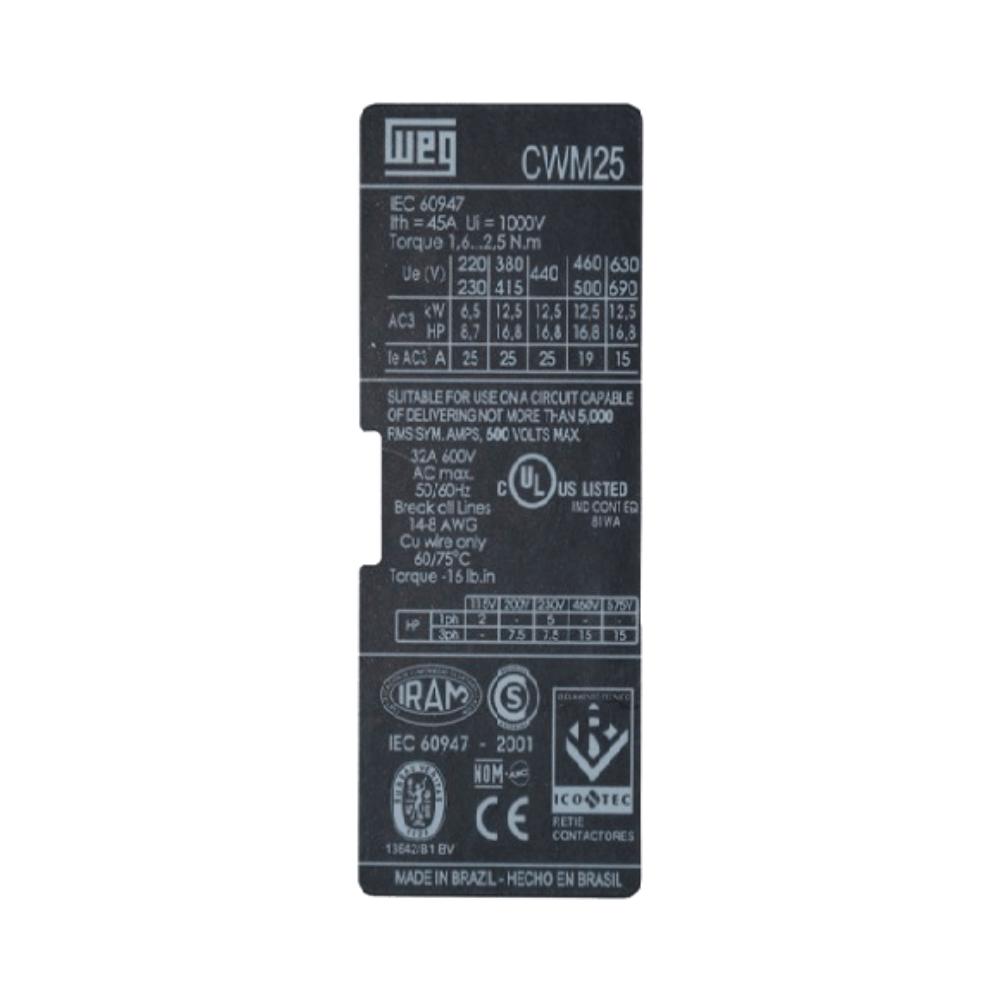 ContatorTripolar WEG CWM25 25A 24V - 42740634