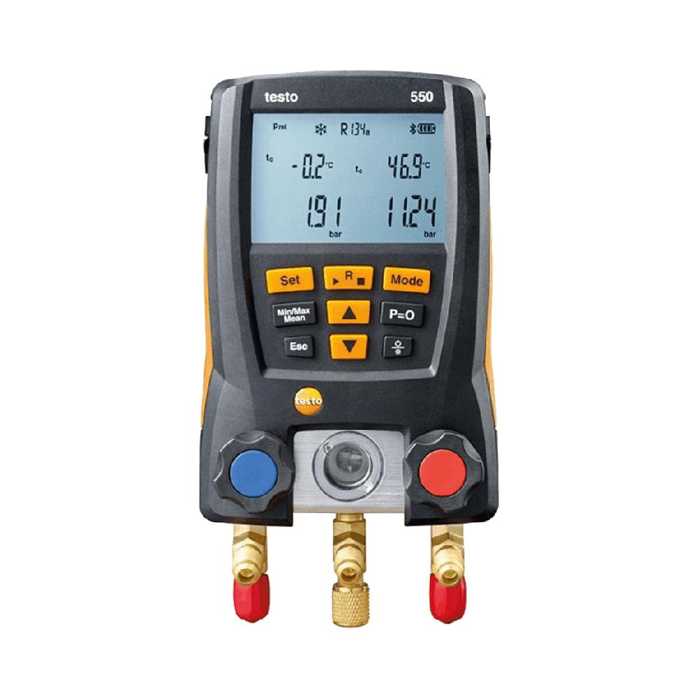 Manifold Digital Testo 550 com 3 Mangueiras, 1 Vacuômetro Digital e 1 Boné Testo