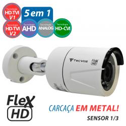 Câmera tecvoz em metal flex hd 5 em 1 bullet - alta definição