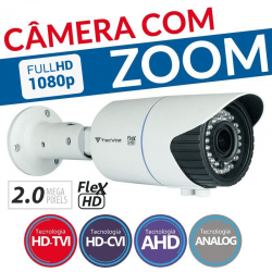Câmera Tecvoz Varifocal com Zoom Flex HD QCB-20v Full HD (2.0MP | 1080p | 2.8mm~12mm | Metal)