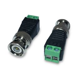 Conector BNC Macho com Borne e Identificação Positivo e Negativo