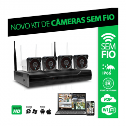 Kit 4 câmeras sem fio wifi - acesso em nuvem por celular e computador