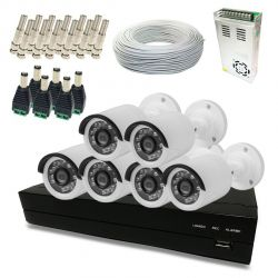 Kit Super Light 6 câmeras Bullet, DVR 8 canais, cabo, fonte e conectores