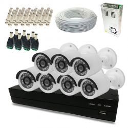 Kit Super Light 7 câmeras Bullet, DVR 8 canais, cabo, fonte e conectores