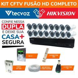 Kit CFTV Fusão HD Completo Tecvoz e Hikvision 16 Canais em Alta Definição HDTVI