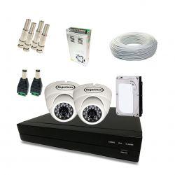 Kit Completo de CFTV Segurimax com 2 Câmeras Dome