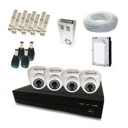 Kit Completo de CFTV Segurimax com 4 Câmeras Dome