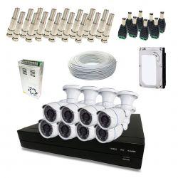 Kit Completo de CFTV Segurimax com 8 Câmeras Bullet