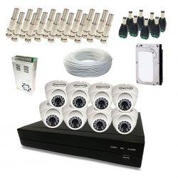 Kit Completo de CFTV Segurimax com 8 Câmeras Dome