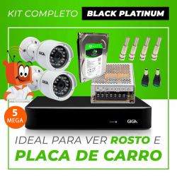 Kit Completo de Monitoramento CFTV com 2 Câmeras Open HD 5 Mega Giga Security Black Platinum