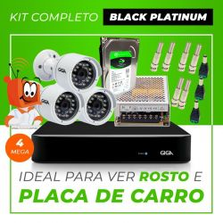 Kit Completo de Monitoramento CFTV com 3 Câmeras Open HD 4 Mega Giga Security Black Platinum