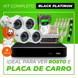 Kit Completo de Monitoramento CFTV com 4 Câmeras Open HD 4 Mega Giga Security Black Platinum