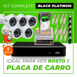 Kit Completo de Monitoramento CFTV com 5 Câmeras Open HD 5 Mega Giga Security Black Platinum