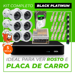 Kit Completo de Monitoramento CFTV com 6 Câmeras Open HD 5 Mega Giga Security Black Platinum