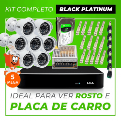 Kit Completo de Monitoramento CFTV com 7 Câmeras Open HD 5 Mega Giga Security Black Platinum